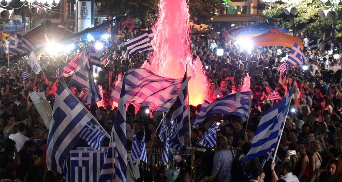Celebrazioni dopo il referendum in Grecia
