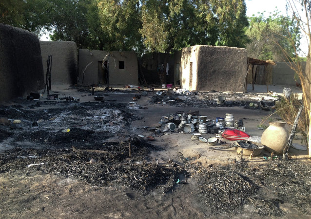 A picture taken on February 13, 2015 shows the village Nougboua after it was attacked by Nigeria's Boko Haram rebels