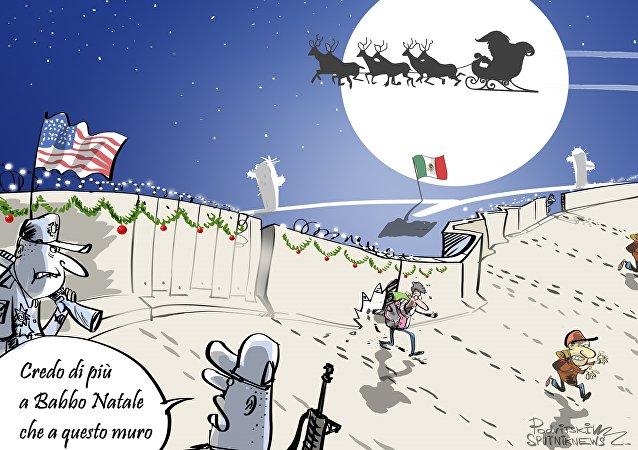 Confine tra il Messico e gli Usa al Natale
