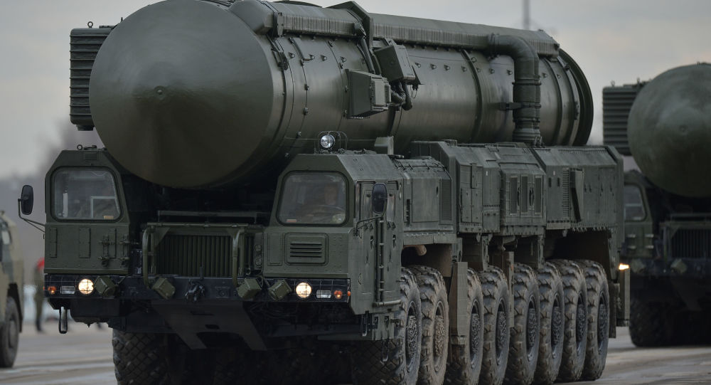 An intercontinental ballistic missile Yars of the mechanized column of the Central Military District's Moscow Garrison during the rehearsal of the military parade to mark the 71st Anniversary of the Victory in the Great Patriotic War, at the Alabino training ground, Moscow Region.