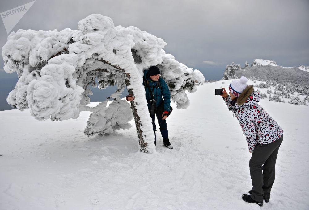 I turisti si fanno le foto alla montagna Ai-Petri.