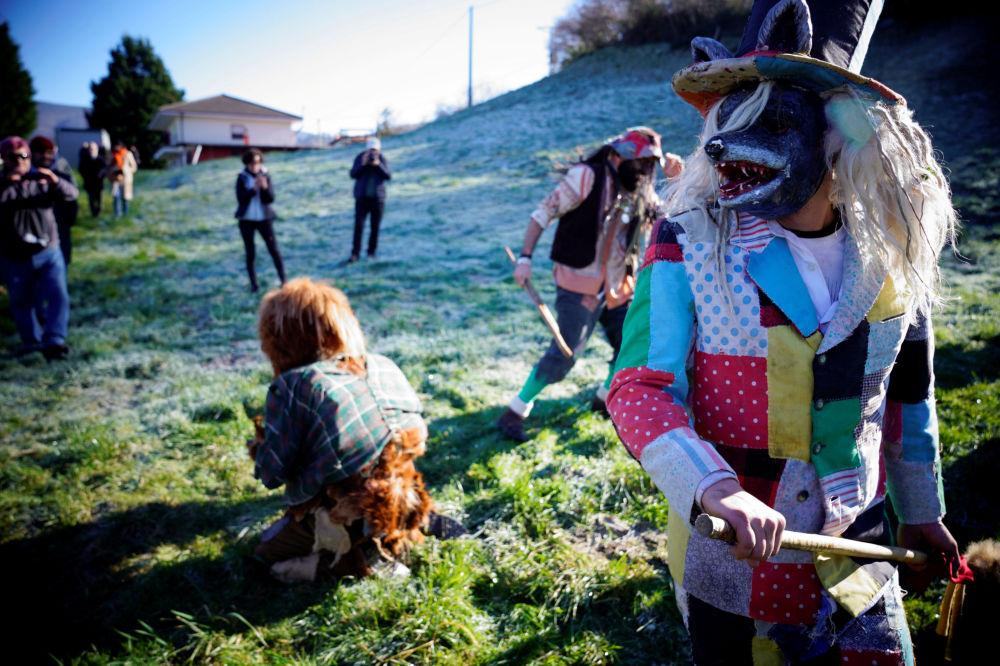 Un festival invernale La Vijanera in Spagna.