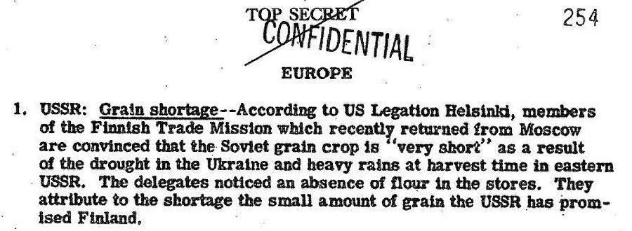 Il rapporto del CIG datato 14 dicembre del 1946 sul modesto raccolto di grano