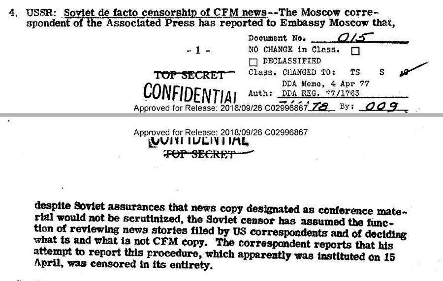 Il rapporto del CIG datato 17 aprile del 1947 sulla censura dei comunicati dei corrispondenti stranieri