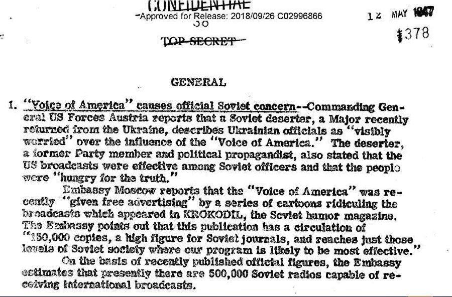 Il rapporto del CIG datato 12 maggio del 1947 sulla situazione con la rivista Krokodil