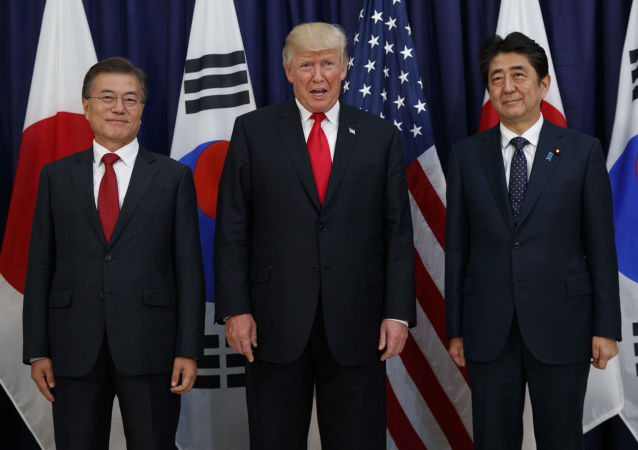 Shinko Abe, Donald Trump e Moon Jae-in