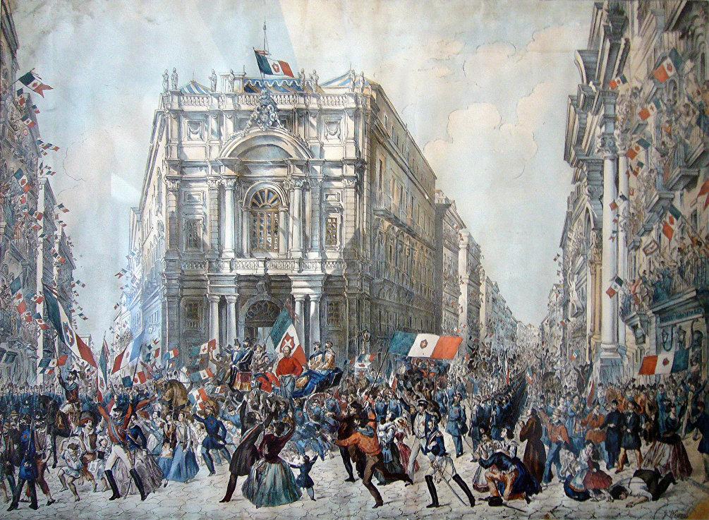 Ingresso di Garibaldi a Napoli il 7 settembre 1860, quadro di Franz Wenzel Schwarz esposto al museo civico di Castel Nuovo, Napoli