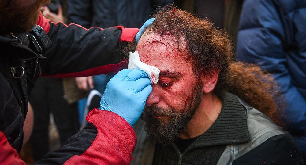 Sputnik stringer Kostis Dadamis injured during the protests in Athens