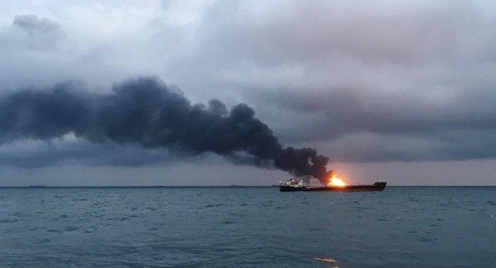 Incedio nello stretto di Kerch