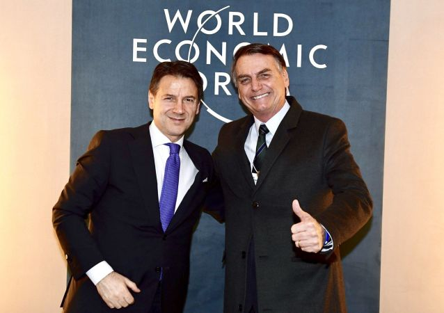 Giuseppe Conte e Jair Bolsonaro a Davos