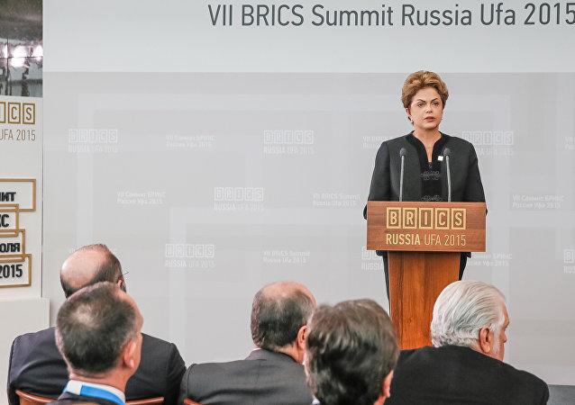 Presidente del Brasile Dilma Rousseff al vertice BRICS ad Ufa, Russia, 09.07.2015