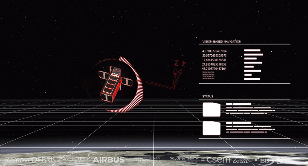 Artwork depicting a view from RemoveDEBRIS from its Vision Based Navigation system.