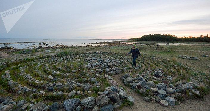 Uno dei misterosi labirinti di pietra delle Solovky