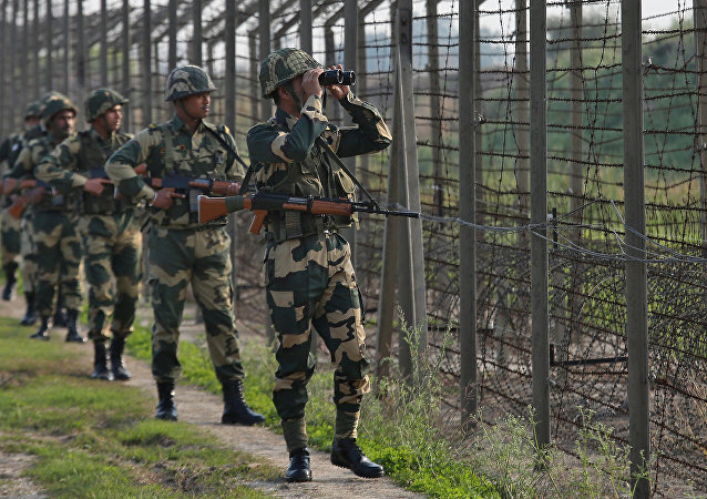 India's Border Security Force (BSF) soldiers patrol along the fenced border with Pakistan in Ranbir Singh Pura sector near Jammu February 26, 2019