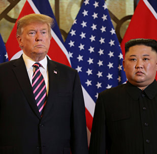 U.S. President Donald Trump and North Korean leader Kim Jong Un pose before their meeting during the second U.S.-North Korea summit at the Metropole Hotel in Hanoi, Vietnam February 27, 2019