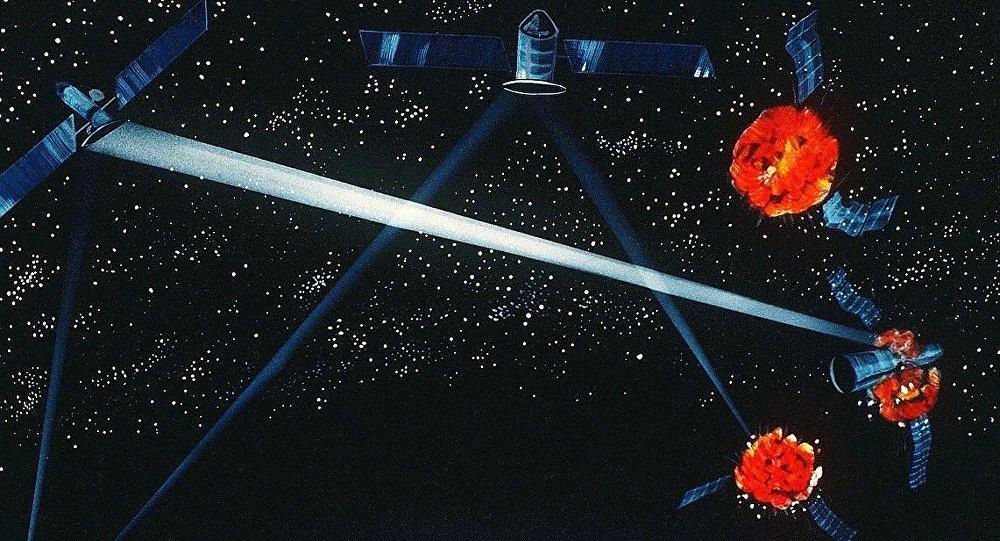 Immagine artistica di un prototipo di arma spaziale - Pentagono, 1984