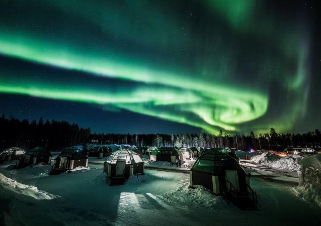 Aurora boreale a Rovaniemi, Finlandia.