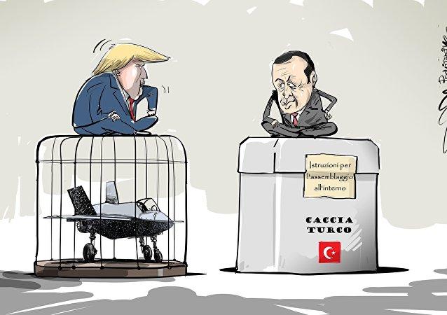 Caccia turco e Recep Erdogan