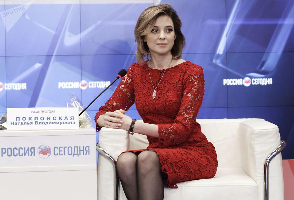 La procurattrice della Crimea Natalya Poklonskaya a una conferenza stampa a Sinferopoli.