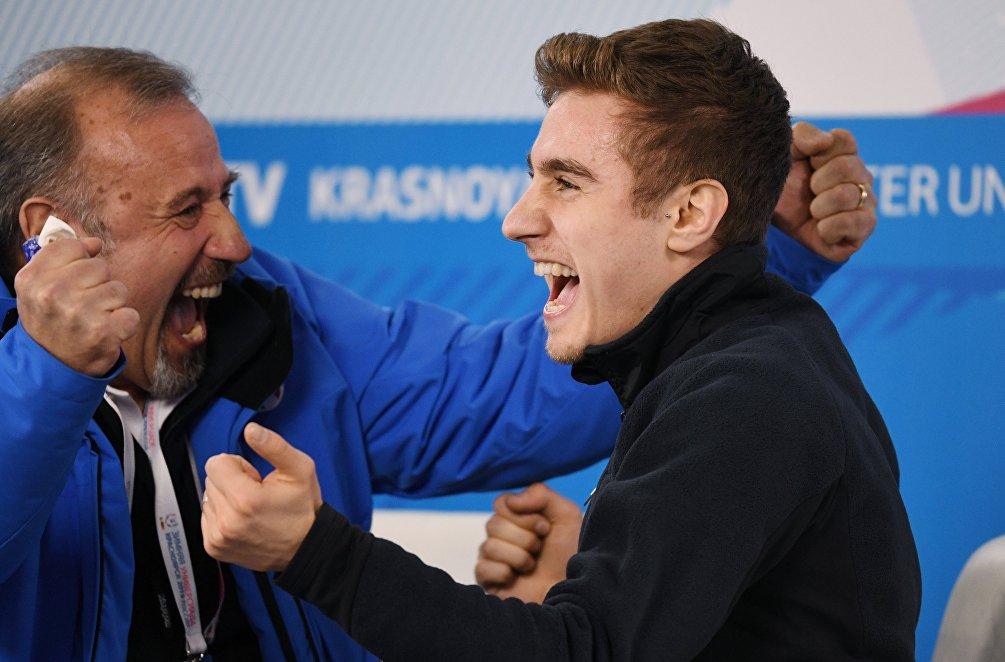La gioia di Matteo Rizzo, insieme al padre Valter