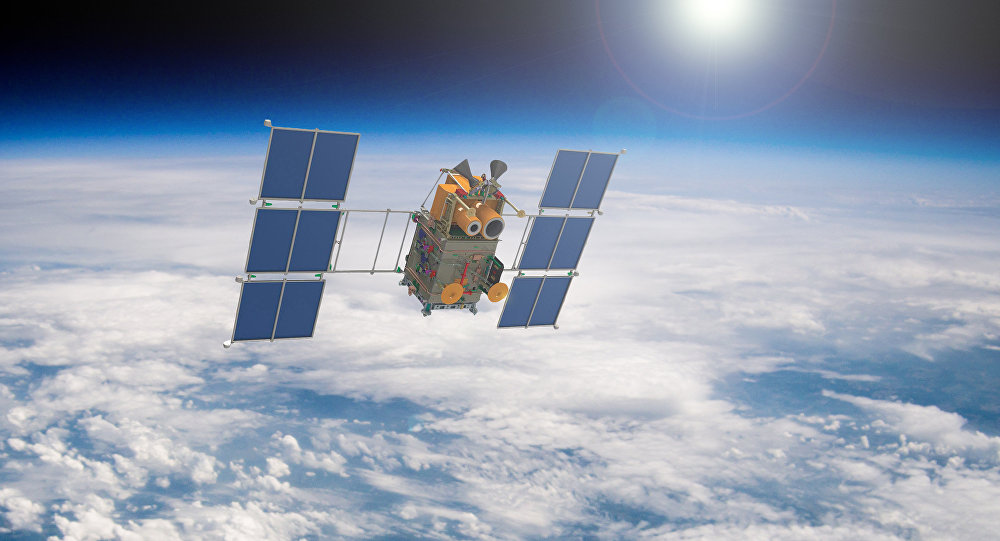 Artist's rendering of a Russian Canopus-B satellite in Earth orbit.