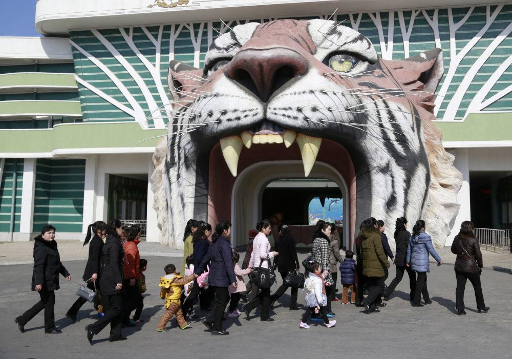 L'ingresso del giardino zoologico di Pyongyang