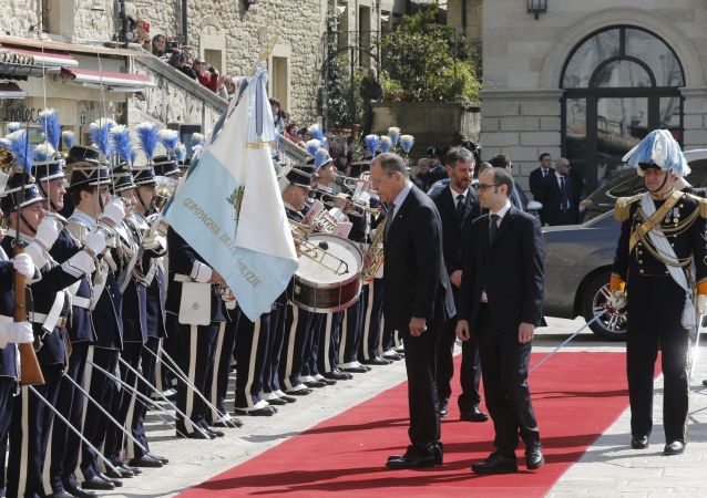 Il ministro degli Esteri russo Sergei Lavrov in visita in San Marino.