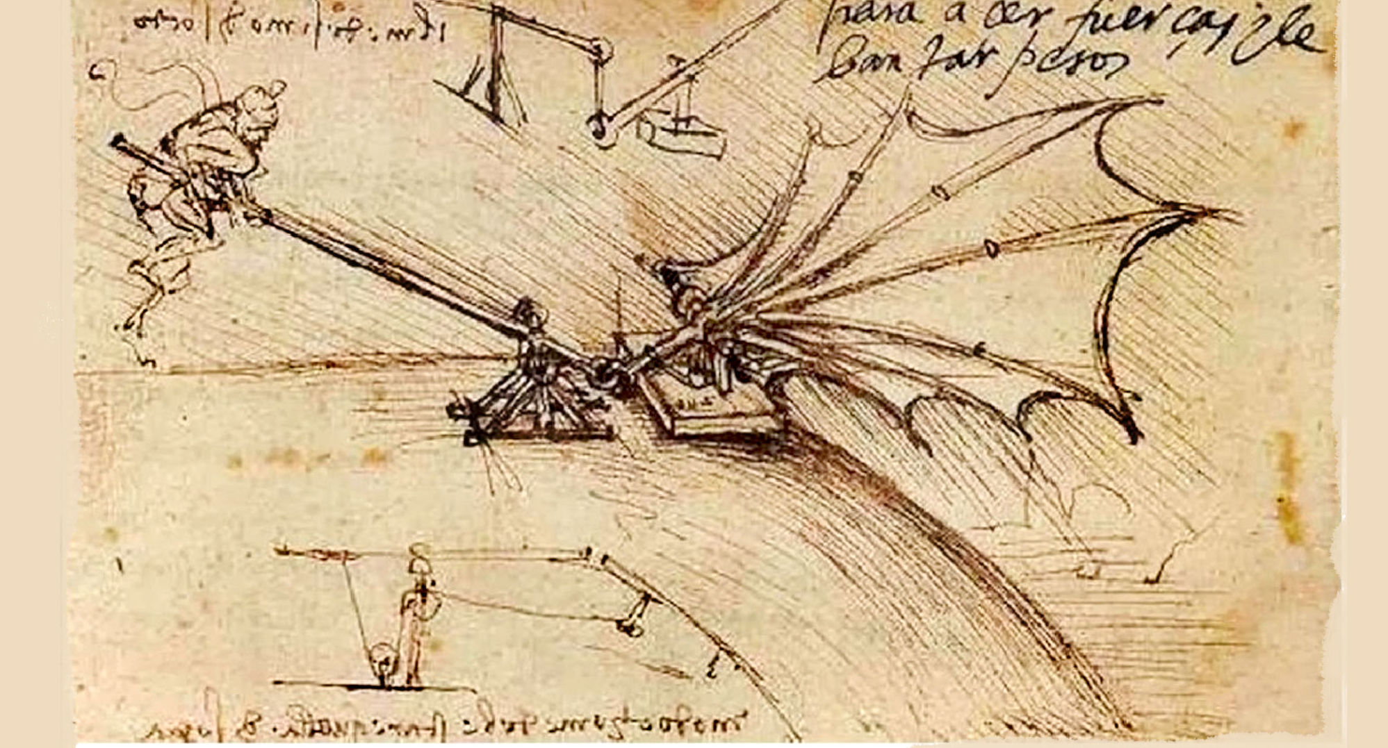 Ala meccanica, esperimento - Manoscritto B, Parigi, Institut de France