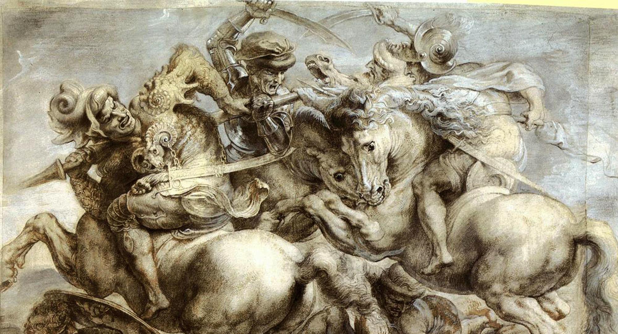 Battaglia di Anghiari - copia di Paul Rubens dal cartone originale (parte centrale)