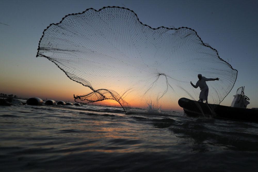 Un pescatore getta la sua rete vicino le coste di Abu Dhabi, Emirati Arabi Uniti.