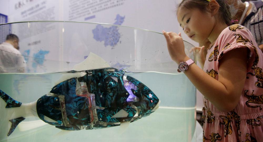 Pesce robot a un'esposizione a Pechino
