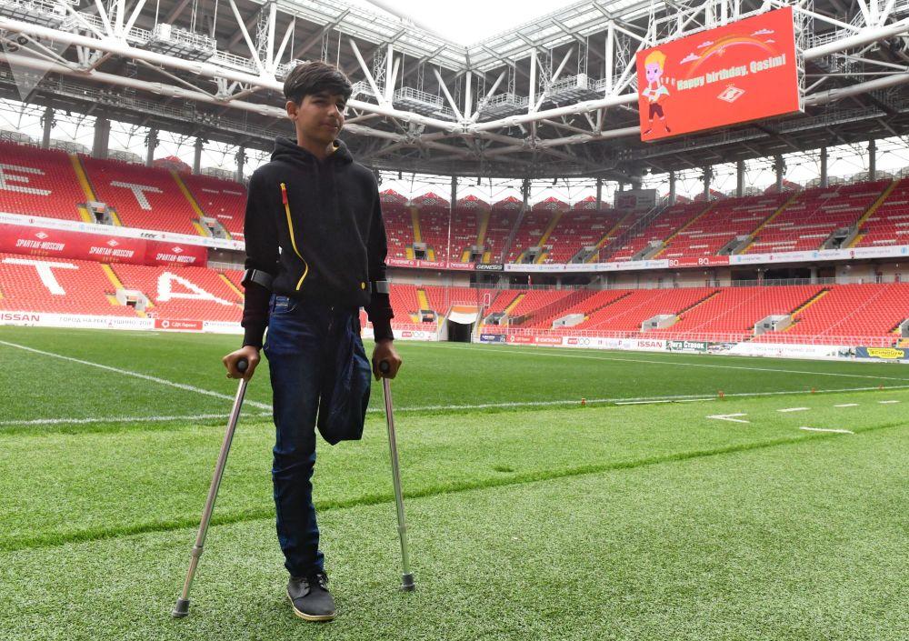 Qasim Alkadim sul prato dello stadio dello Spartak Mosca