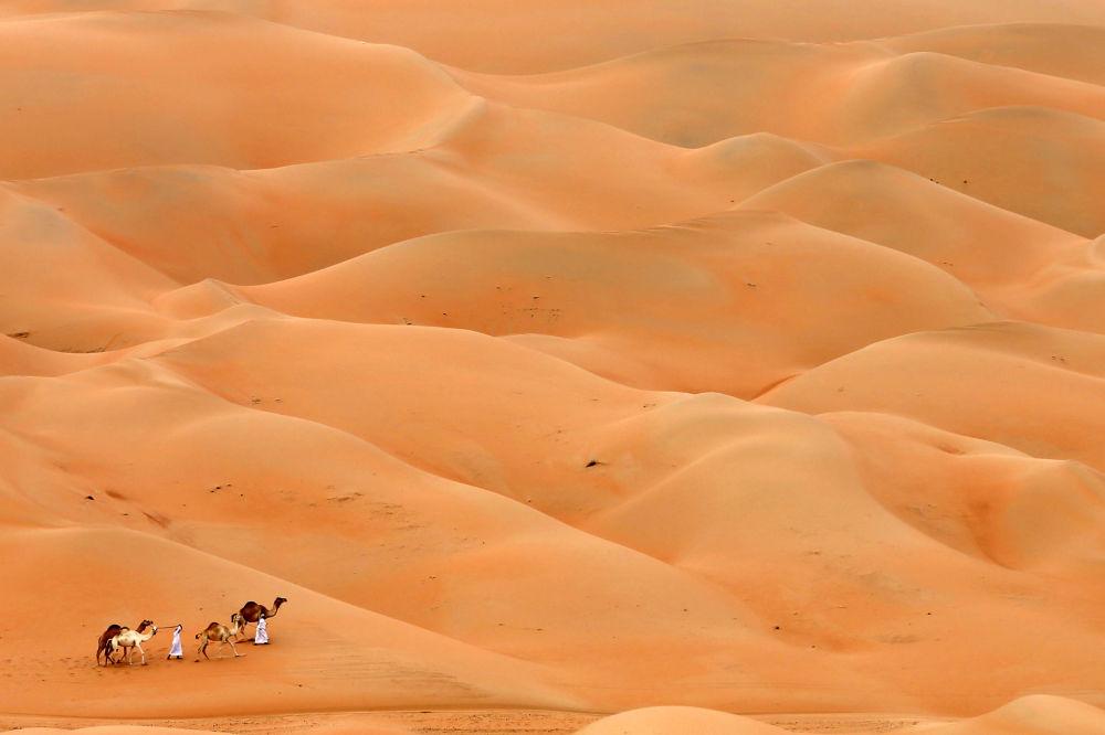 Lo smog avvolge le dune del deserto dell' Hameem, in Abu Dhabi