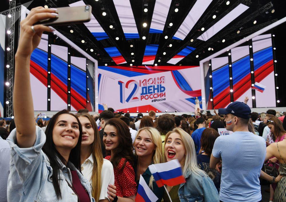 Festeggiamenti del Giorno della Russia sulla Piazza Rossa a Mosca.