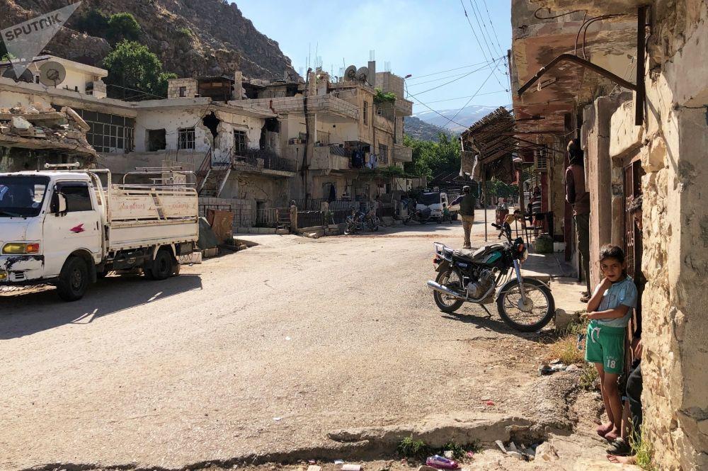 Una strada di Beit Jinn, Siria.