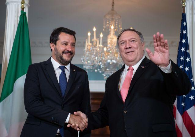 L'incontro di Matteo Salvini con il Segretario di Stato Mike Pompeo