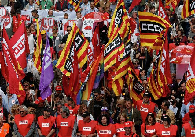 Manifestazione degli indipendentisti catalani