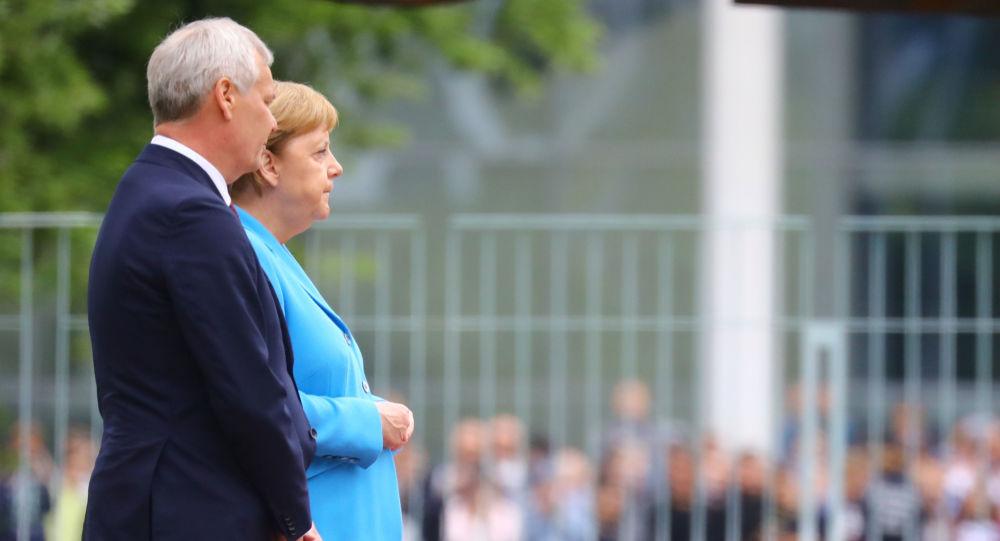 Il cancelliere tedesco Angela Merkel receives e il premier della Finlandia Antti Rinne