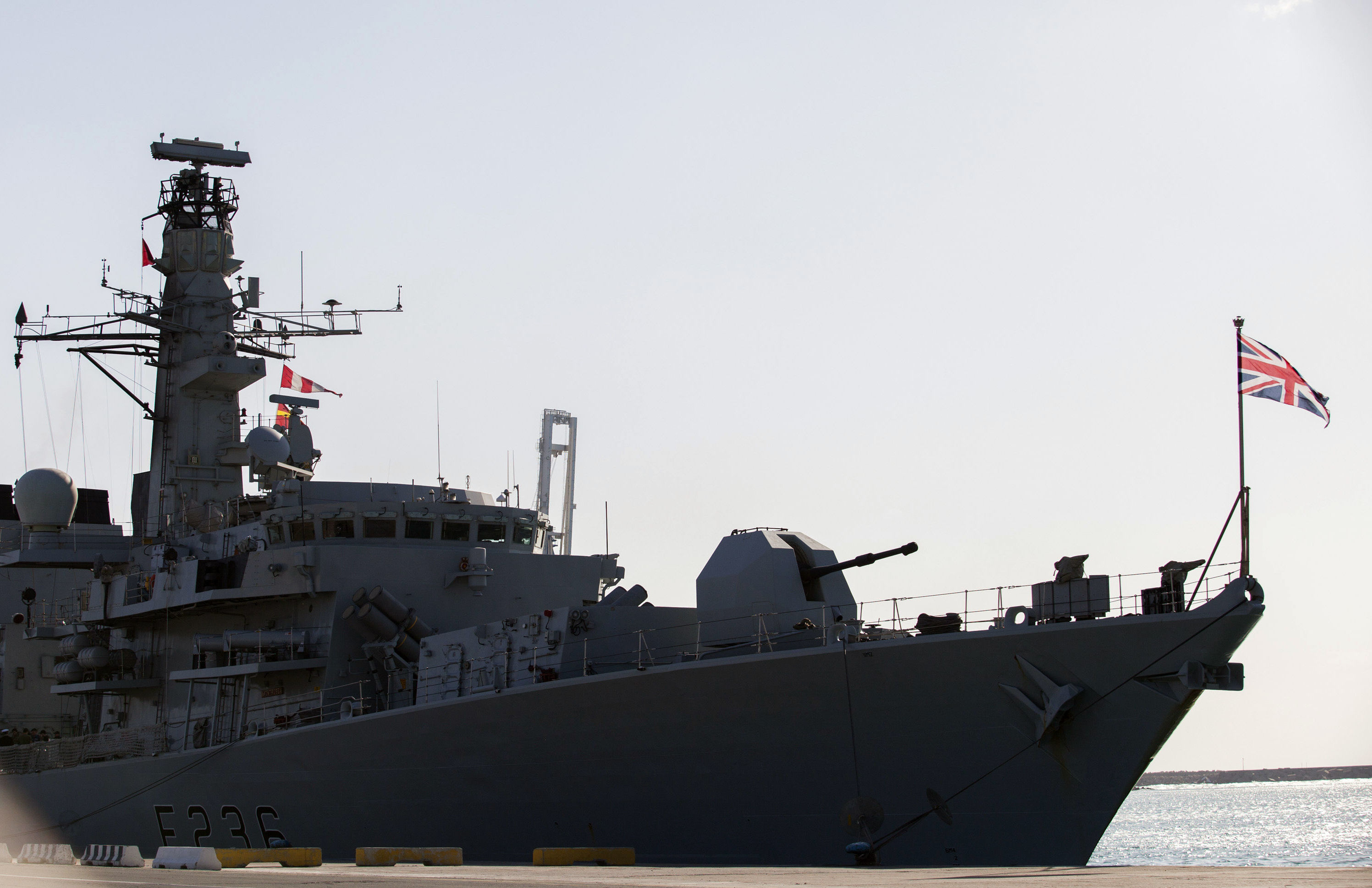 A picture taken on February 3, 2014, shows the British warship HMS Montrose docked in the Cypriot port of Limassol on February 3, 2014