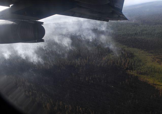 Un aereo durante lo spegnimento degli incendi in Siberia