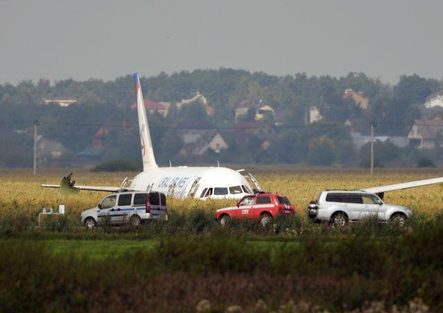 Aereo A-321 atterrato in campo di mais a Mosca
