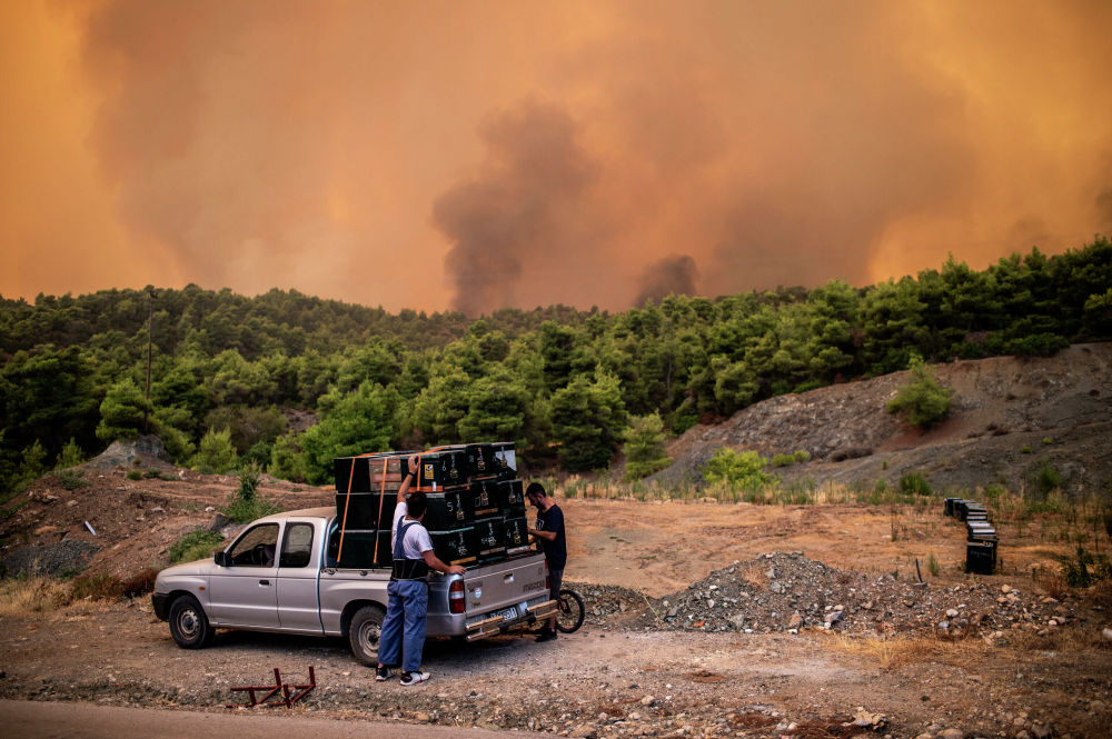 Gli incendi sull'isola di Evia, in Grecia
