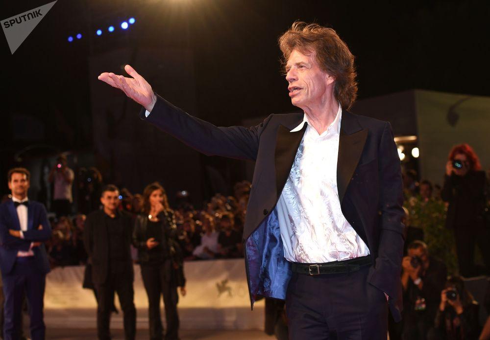 Misicista Mick Jagger al Festival del Cinema a Venezia.
