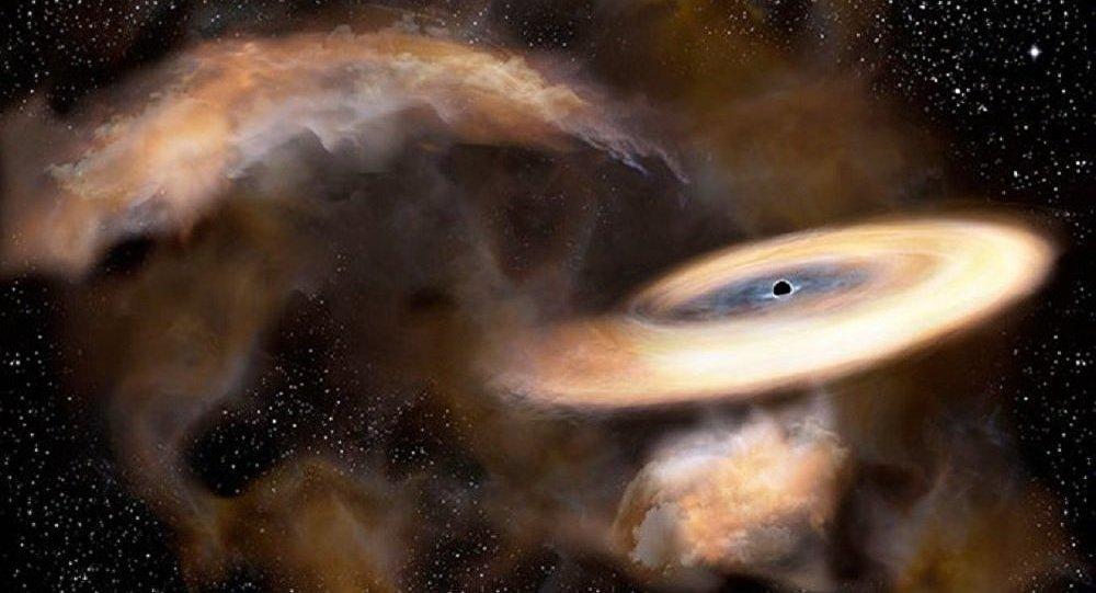 Un disegno di un buco nero vicino al nucleo della Via Lattea