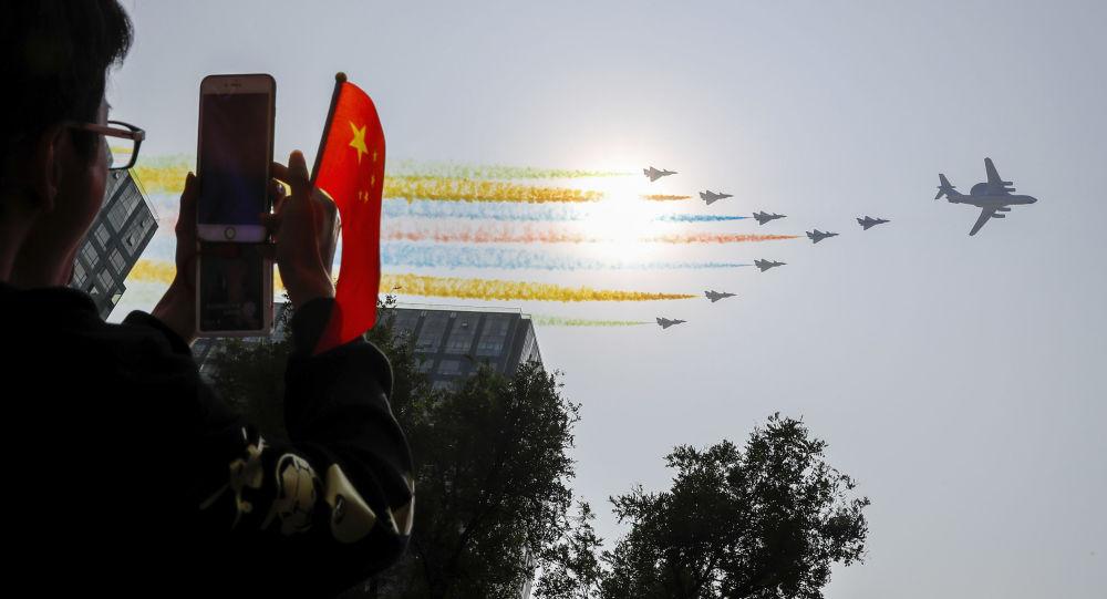 La gente alla parata militare in Cina