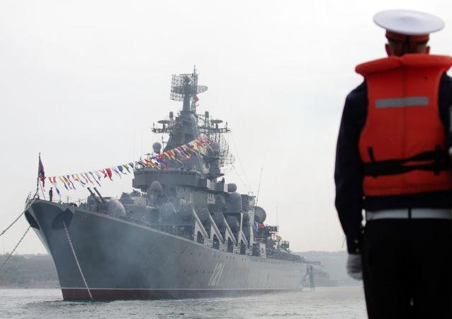 L'incrociatore missilistico Moskva (Mosca) della flotta del Mar Nero russa.