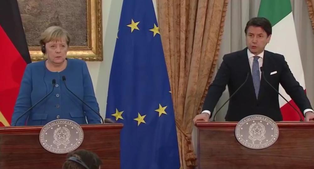 La conferenza stampa congiunta di Giuseppe Conte e Angela Merkel