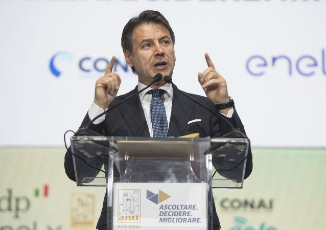 Il Presidente del Consiglio, Giuseppe Conte, durante il suo intervento all'Assemblea annuale dell'Anci.
