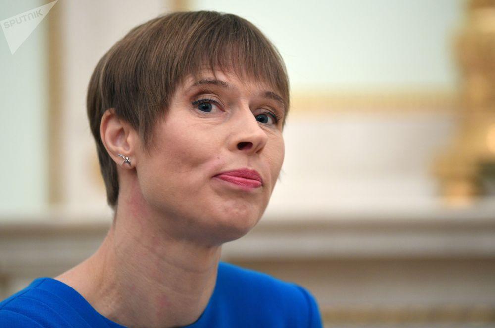 Kersti Kaljulaid, presidente della Repubblica dell'Estonia, durante un incontro con il presidente russo Vladimir Putin