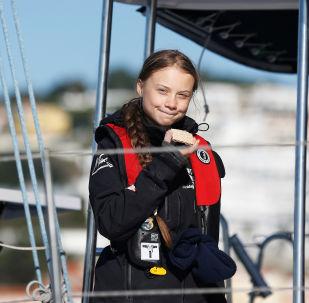 Greta Thunberg arriva a Lisbona il 3 dicembre , 2019